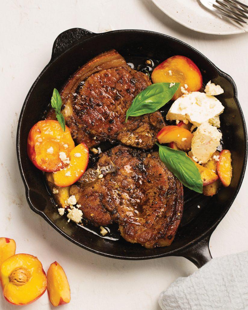 Pork chops with balsamic and nectarine glaze