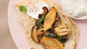 Basil mushroom rotis with cream cheese