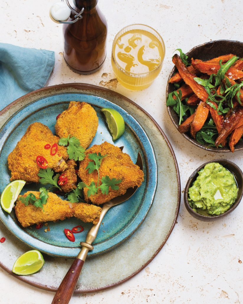 Crispy chicken with sweet potato wedges