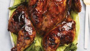 Mango-marinated spatchcock chicken roast