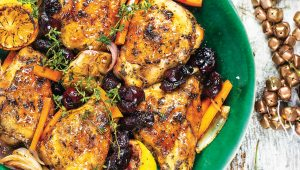Oven roast cherry and thyme chicken skillet