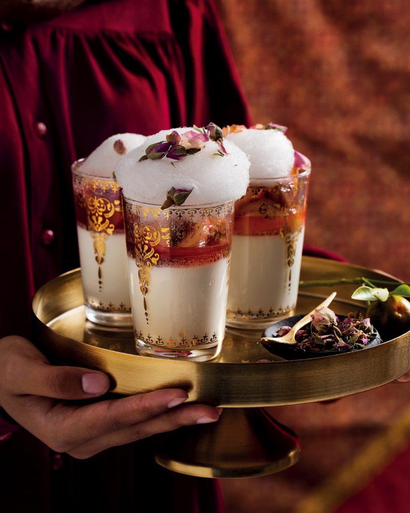 Rose-water milk pudding
