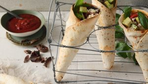 Avocado, biltong and feta pizza cones