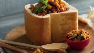 Chickpea bunny chow with mango atchar