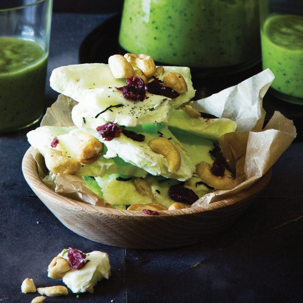 Green tea yoghurt bark