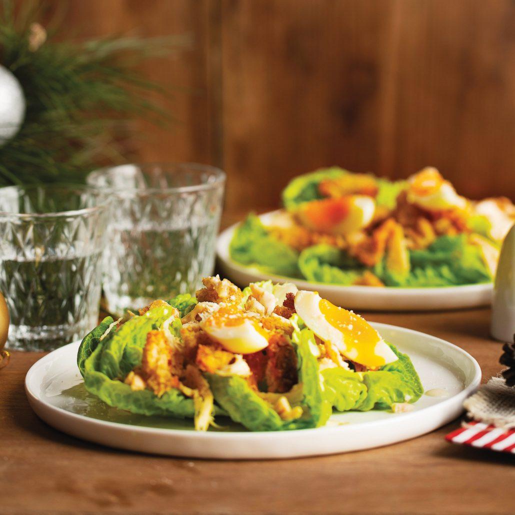 Leftover turkey caesar salad