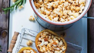 Pastry cones filled with paprika-spiced popcorn