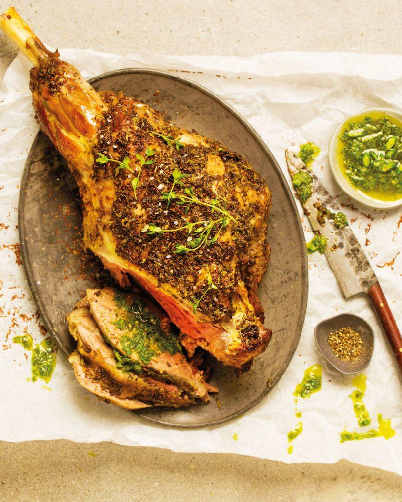 Rooibos & rosemary-crusted lamb roast
