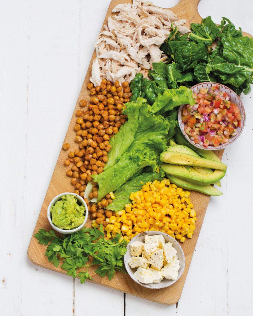 Shredded chicken salad board