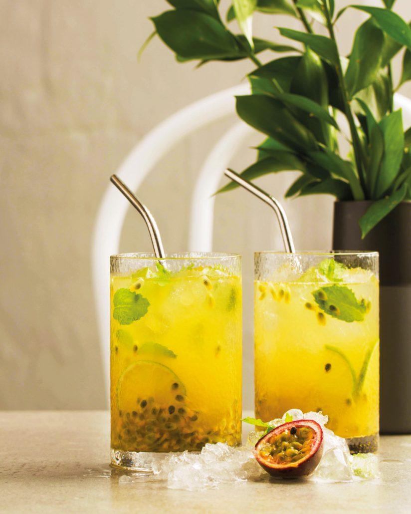 Granadilla, ginger beer & brandy cooler