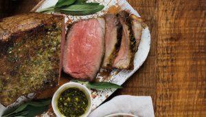Roast Beef with Lemony-Sage Roast Potatoes and Glazed Carrots
