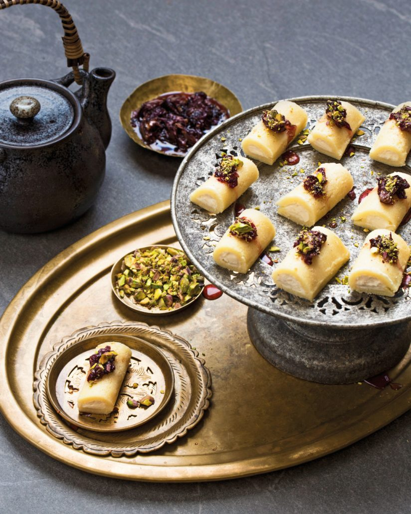 Sweet cheese rolls with rose petal jam