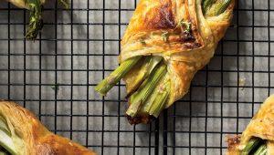 asparagus, Brie& caramelisedonion rolls.