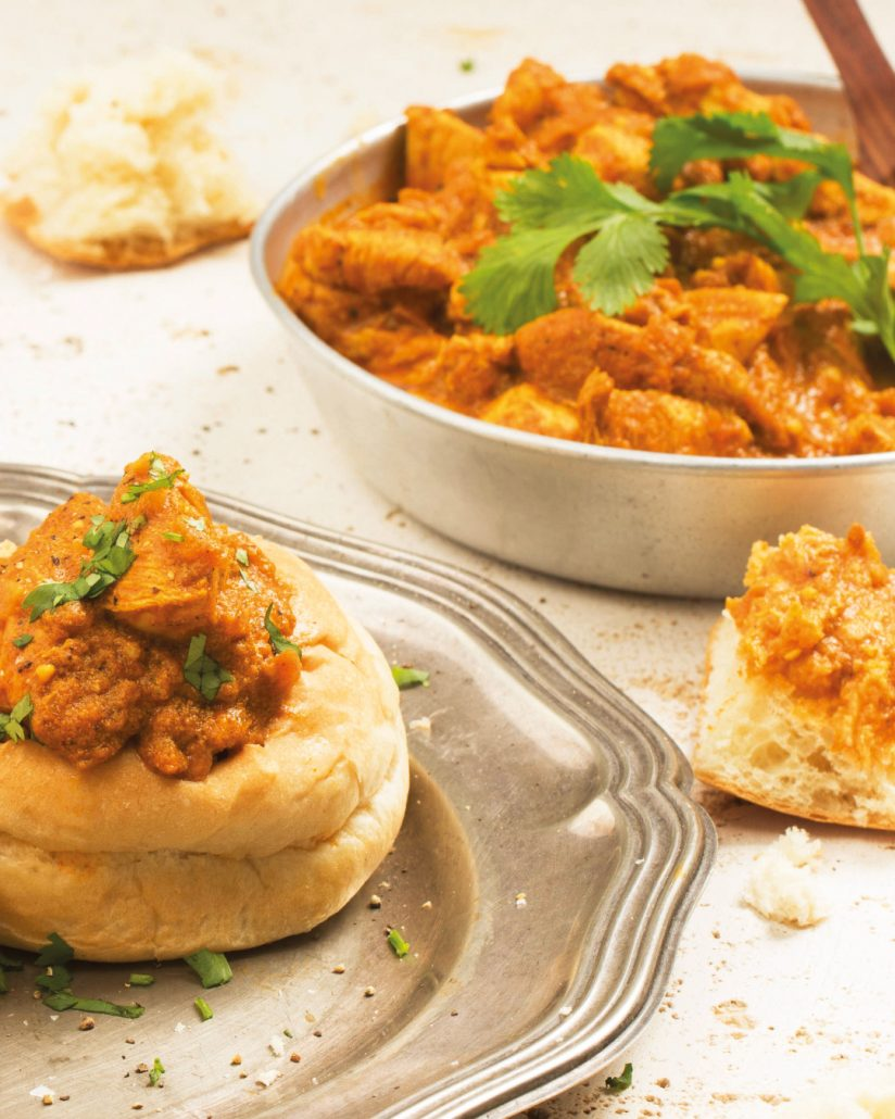 Mini butter chicken bunny chows