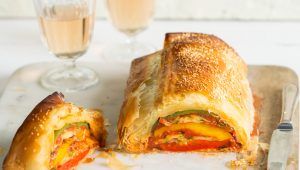 Red pepper & baby marrow phyllo rolls