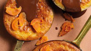 Chocolate Malva pudding with apricot ganache